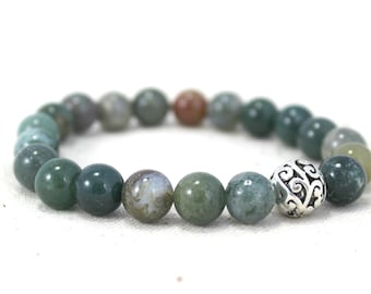 Fancy Jasper and Silver Plated Filigree Bead Stretch Bracelet / Gifts under 25