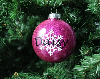 Garnet / Magenta Glitter Personalized Glass Ornament with Snowflake