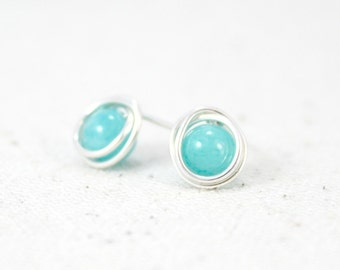 Bright Turquoise Quartzite and Sterling Silver Post Earrings / Wire Wrapped Jewelry / Simple Silver Jewelry / Gifts under 20