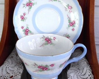 Shelley China Henley Shape Cup and Saucer Pink Rose Teacup Blue Bands Afternoon Tea