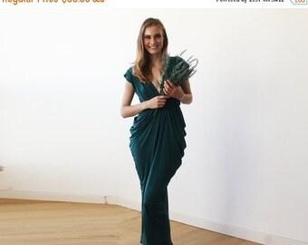 Emerald green maxi bridesmaids dress, Emerald bridesmaids gown 1008
