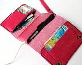 Pink Trifold leather iphone wallet  wristlet  with zipper