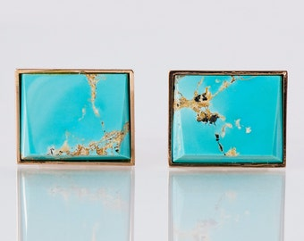 Vintage Cuff Links - Vintage 14k Yellow Gold Turquoise Cuff Links