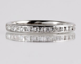 Antique Wedding Band - Antique 1920s 18K White Gold Diamond Wedding Band