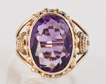 Vintage Ring - Vintage 14k Yellow Gold Amethyst Ring