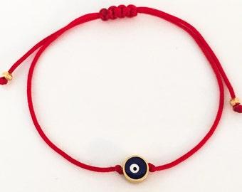 Evil Eye of Protection Bracelet - Adjustable Macrame Style