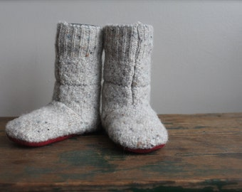 Felted Wool Baby Boots, Wool Booties, Wool Shoes, Baby Slipper US 8 Baby