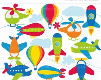 50% OFF SALE Clipart - Up in the Air / Airplanes / Aviation / Air Transportation - Digital Clip Art (Instant Download)