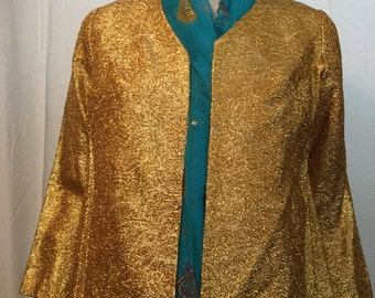 VINTAGE gold lame'and lined jacket