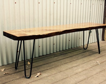Wood Bench // Dining Table Bench // Live Edge Bench // Kitchen Bench // Natural Edge Bench // Reclaimed Bench