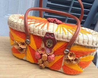 1950's Vintage Basket Bag orange needlework fruit vlv rockabilly tiki oasis