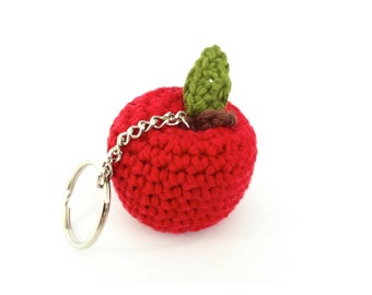 Apple Key Ring / Apple Keychain / Apple Bag Charm / Teacher Thank You Gift / Apple of My Eye / Miniature Fruit