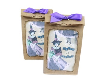 Halloween Favor Bags, Trick or Treat, Witch Goodie Bags, Kraft Brown and Purple, Halloween Candy Bags, Wicca Pagan Gift Packaging