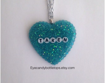 Resin Heart Charm Necklace