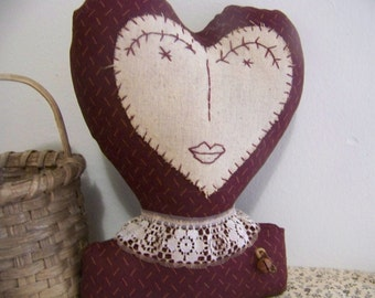 Primitive Valentine Shelf Sitter Heart Head