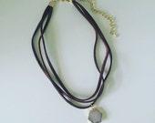 Hexagon Fruzy Drop Choker Necklace // Custom Choker // 3 Strand Choker