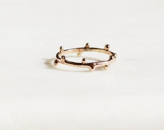 Solid 14k Gold Molten Ring, Rose Gold, Yellow Gold, White Gold, Stackable Ring