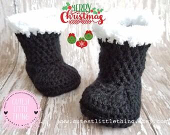 Santa Boots, Black Crochet Boots, Christmas Crochet Booties, Baby Santa Boots, Crochet Santa Boots, Santa Claus Boots, Christmas Booties