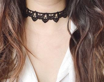 Victorian black lace choker lolita steampunk