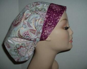 Charleston Paisley OR Bouffant Scrub Hat Gray Garnet Pink Gold
