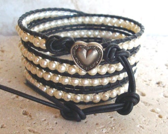 Swarovski Cream Pearl 4mm Leather Wrap Bracelet