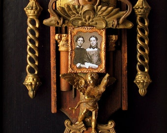 Rococo Framed Shrine art assemblage tin type reliquary nicho 'Two Sisters' sculpture