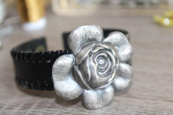 BLACK Leather CUFF bracelet, repurposed silver flower belt buckle, Steampunk, Art Nouveau, vintage assemblage jewelry, One of a kind, OOAK,
