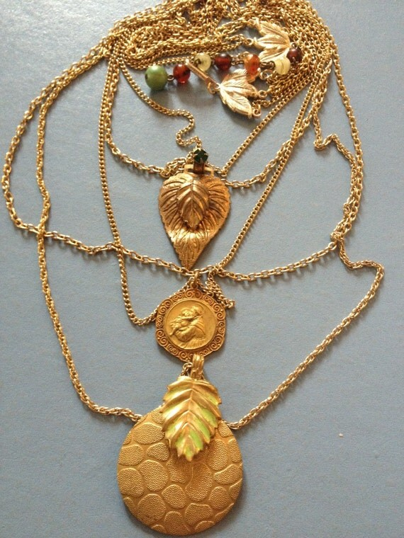 """NECKLACE """"Saint Anthony Blessing"""" gold leaves buckles, chains Vintage assemblage, Repurposed, Vintage gold chains, OOAK, repurposed jewelry"""
