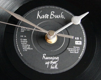 "KATE BUSH Record CLOCK ""Running Up That Hill"" made from recycled vinyl 7"" single gift for mystic women girls mum wild women black and silver"