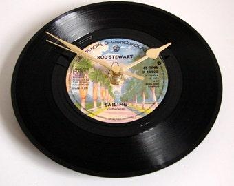 "ROD STEWART Vinyl Record Clock ""Sailing"" made from a recycled 7"" single, vinyl disc, Retro rock gift mum dad fun present"