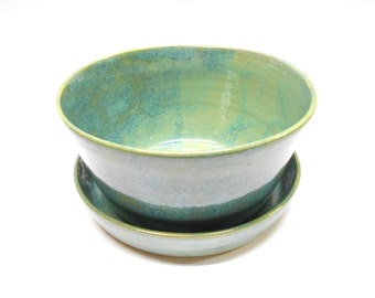 Pottery Planter and Plate, Ceramic Planter and Plate, Planter with Plate and Drainage Hole, Planter Matching Plate, Medium in Blue and Green