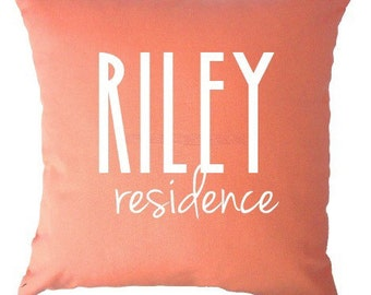 New home surname residence pillow for the perfect wedding gift, bridal shower or housewarming gift + anniversary or first home owner gift!