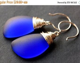 BACK to SCHOOL SALE Cobalt Blue Seaglass Earrings. Cobalt Blue Earrings. Cobalt Blue Sea Glass Earrings. Wire Wrapped Wing Earrings. Handmad