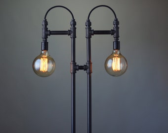 Steampunk Floor Lamp - Industrial Light - Edison Bulb Floor Lamp - Industrial Furniture - Modern Floor Light