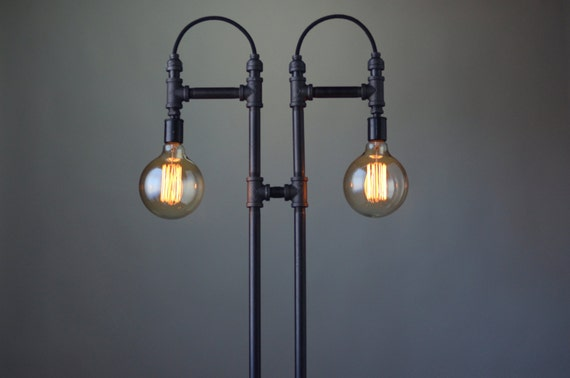 to steampunk floor lamp industrial light edison bulb floor lamp. Black Bedroom Furniture Sets. Home Design Ideas
