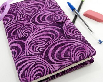 Purple Batik Journal Cover, 5 x 8 Inch Diary Cover, Quilted Reusable Diary - Purple Scallops Batik Refillable Journal Notebook Cover