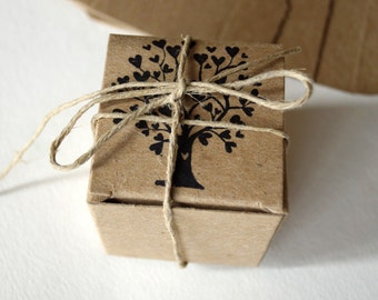 10 Rustic wedding favor boxes,wedding favors small kraft box, Tree of Life gift box, candy box 10 boxes per set