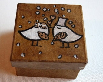 Wedding Ring Box Love Birds Romantic Country Chic Ring Pillow antiqued box Monogram Hand Painted