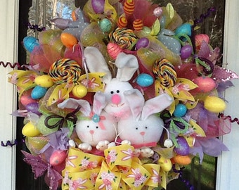 Bunny Trio Wreath, Bunny Wreath, Easter wreath, Easter bunny Wreath