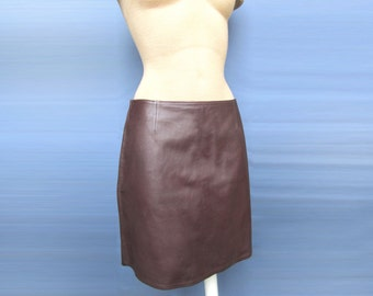 Stylish Super sexy Leather Maroon Leather A-line 100% Genuine Dress New