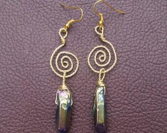 Gold Swirl, Rainbow Titanium Quartz Earrings