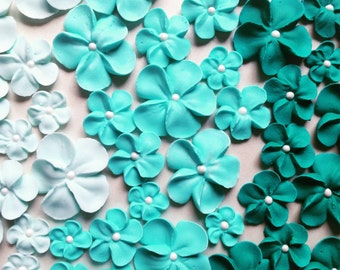 Shades of turquoise-teal ombre flowers  -- Edible cake decorations cupcake toppers (24 pieces)
