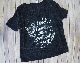 Give Thanks-Charcoal Grey Triblend-Loose fit Womens tee-Oversize-Vneck