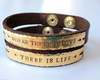Couples personalized bracelet, ID bracelet, custom made bracelet, leather cuff bracelet, matching bracelets, gold plate name on bracelet