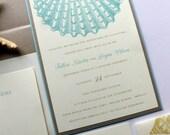 Seaside Wedding Invitation - Deposit To Get Started - Beach Wedding - Shell Wedding Invite - Destination Wedding - Seaside Wedding