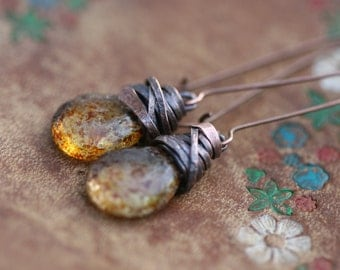 Rustic Rough Textured Czech Glass earrings n34-  . Citrine Color Glass and Copper . Organic Earthy jewelry . Glass in handmade . everyday