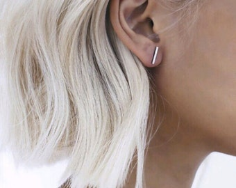 Silver and Gold bar stud earings delicate minimalist
