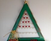 Christmas Tree Frame Advent Calendar, a Unique Wall Hanging with Red Pearls and Silver Wire, Holiday Decoration READY to SHIP - SALE 50% off
