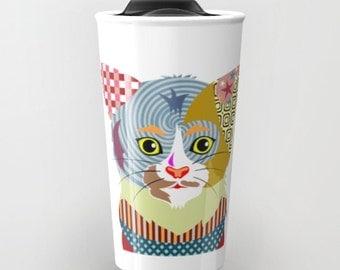 Cat Travel Coffee Mug, Cute Cat Travel Mug,  Ceramic Mug, Pet Mug, Cat Lover Mug, Tea Mug, Cat Lover Gift, Travel Gift