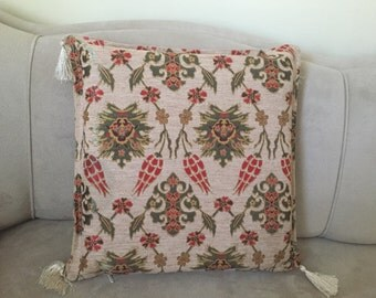 Turkish Pillow Cover, Tile Pillow Cover,Mosaic Pillow Case, Carnation Pillow Case,Tulip Pillow Cover, Palace Decor